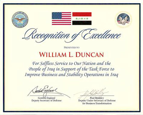 Recognition of Excellence for Selfless Service to Our Nation